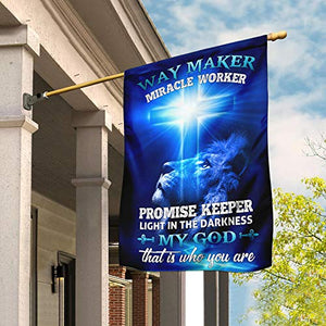 Way Maker Miracle Worker Jesus Christ Garden Flags | House Flags | Double Sided Decorative Yard Flag For Spring Summer Fall Winter