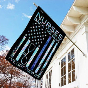 Nurses Back The Blue Got Your Six American Vintage Garden Flags | House Flags | Double Sided Decorative Yard Flag For Spring Summer Fall Winter