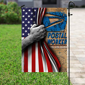 Postal Worker Live Love Deliver Garden Flags | House Flags | Double Sided Decorative Yard Flag For Spring Summer Fall Winter