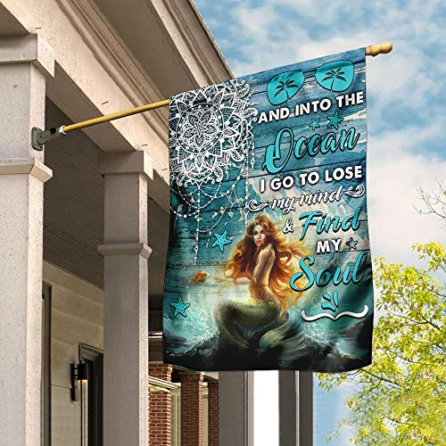 Into The Ocean Red Hair Mermaid White Mandala Garden Flags | House Flags | Double Sided Decorative Yard Flag For Spring Summer Fall Winter