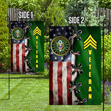 US Army Rank Sergeant Veteran Garden Flags | House Flags | Double Sided Decorative Yard Flag For Spring Summer Fall Winter
