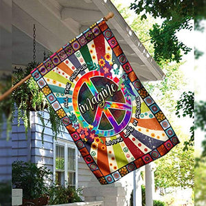 Hippie Imagine All The People Living In Peace Garden Flags | House Flags | Double Sided Decorative Yard Flag For Spring Summer Fall Winter