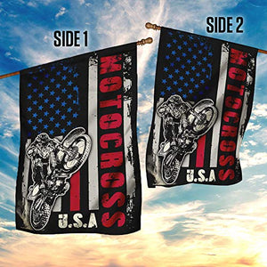 Motocross Dirt Bike Garden Flags | House Flags | Double Sided Decorative Yard Flag For Spring Summer Fall Winter