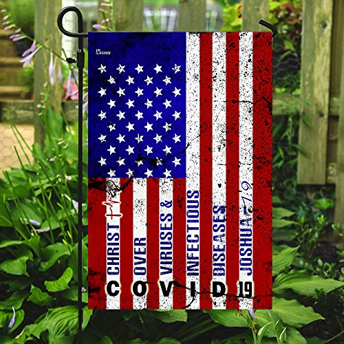 America Strong Jesus Christ Joshua 1:9 Garden Flags | House Flags | Double Sided Decorative Yard Flag For Spring Summer Fall Winter
