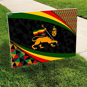 "Lion of Judah Ethiopia 24""x18"" Decorative Campaign House Garden Yard Signs 