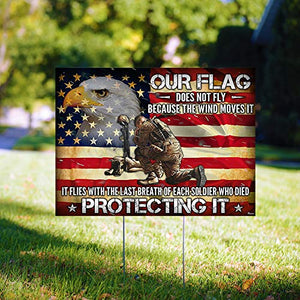 "Veterans Day Proud American Soldier 24""x18"" Decorative Campaign House Garden Yard Signs 
