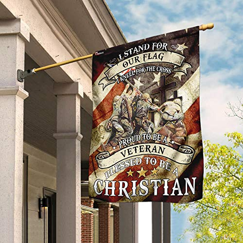 Proud to Be A Veteran Blessed to Be A Christian Garden Flags | House Flags | Double Sided Decorative Yard Flag For Spring Summer Fall Winter