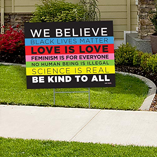 "We Believe Black Lives Matter BLM Human Women Rights 24""x18"" Decorative Campaign House Garden Yard Signs 