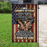 Proud Grumpy Veteran Garden Flags | House Flags | Double Sided Decorative Yard Flag For Spring Summer Fall Winter