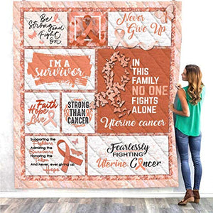 Uterine Cancer Awareness Peach Ribbon Symbol Survivor Warrior Fighter Quilt Blanket Fleece Throw Twin Queen Size Tapestry Wall Hanging