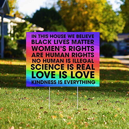 In This House We Believe Black Lives Matter BLM Women Rights Peace Rainbow 24