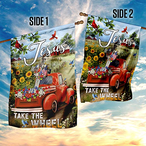 Jesus Take The Wheel Christian Cross Truck Farm Garden Flags | House Flags | Double Sided Decorative Yard Flag For Spring Summer Fall Winter