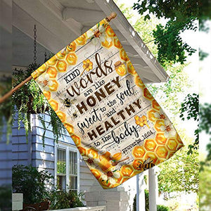 Kind Words Sweet to The Soul Honey Bee Garden Flags | House Flags | Double Sided Decorative Yard Flag For Spring Summer Fall Winter