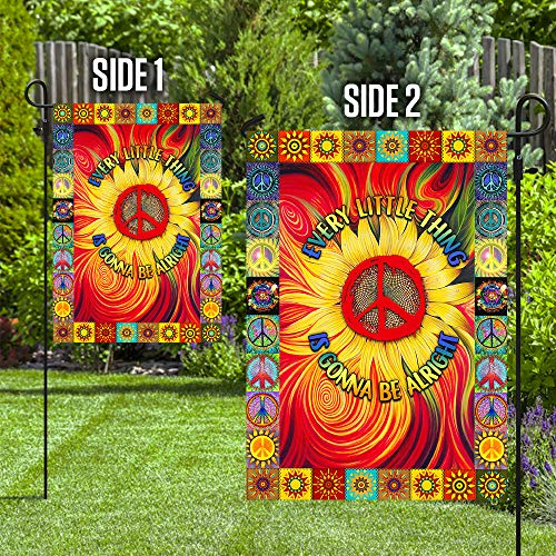 Hippie Every Little Thing is Gonna Be Alright Sunflower Garden Flags | House Flags | Double Sided Decorative Yard Flag For Spring Summer Fall Winter