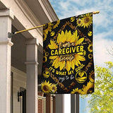 I Am A Caregiver Sunflower Leopard Garden Flags | House Flags | Double Sided Decorative Yard Flag For Spring Summer Fall Winter