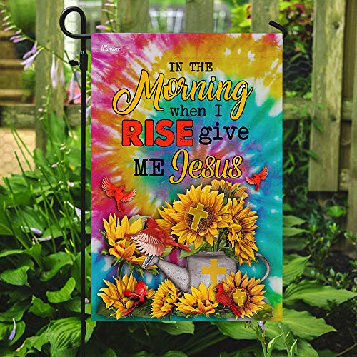 Give Me Jesus Cardinal Sunflower Tie Dye Garden Flags | House Flags | Double Sided Decorative Yard Flag For Spring Summer Fall Winter