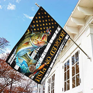 Hooked On Fishing Garden Flags | House Flags | Double Sided Decorative Yard Flag For Spring Summer Fall Winter