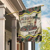 Jesus Take The Wheel Vintage Mandala Garden Flags | House Flags | Double Sided Decorative Yard Flag For Spring Summer Fall Winter