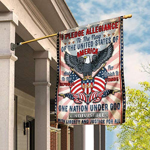 I Pledge Allegiance to The Flag of The United States of America Garden House Flags | Double Sided Decorative Yard Flag For Spring Summer Fall Winter