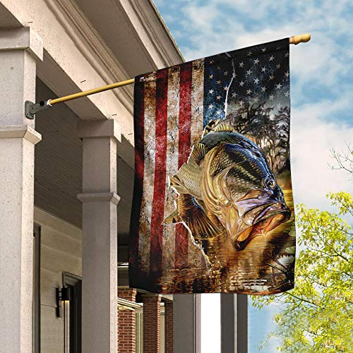 Bass Fishing America Flag Garden Flags | House Flags | Double Sided Decorative Yard Flag For Spring Summer Fall Winter