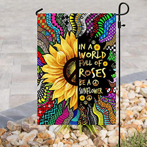 Be A Sunflower Hippie Garden Flags | House Flags | Double Sided Decorative Yard Flag For Spring Summer Fall Winter
