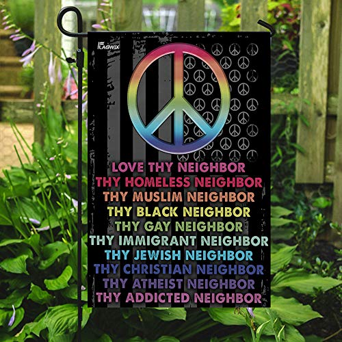 Love Thy Neighbor Peace Garden Flags | House Flags | Double Sided Decorative Yard Flag For Spring Summer Fall Winter