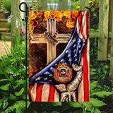 Firefighter Christian Cross Garden Flags | House Flags | Double Sided Decorative Yard Flag For Spring Summer Fall Winter