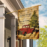 Red Truck. Country Roads Take Me Home Garden Flags | House Flags | Double Sided Decorative Yard Flag For Spring Summer Fall Winter