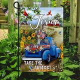 Jesus Take The Wheel American Truck Farm Garden Flags | House Flags | Double Sided Decorative Yard Flag For Spring Summer Fall Winter