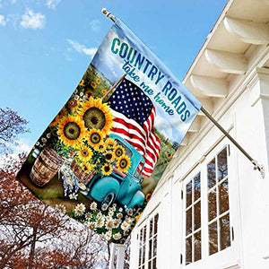 Country Roads Garden Flags | House Flags | Double Sided Decorative Yard Flag For Spring Summer Fall Winter