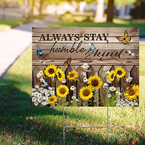 "Stay Humble and Kind 24""x18"" Decorative Campaign House Garden Yard Signs 