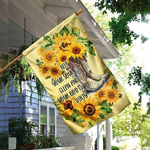 Sunflower Girls Boots Keep Your Soul Clean Your Boots Dirty Garden House Flags | Double Sided Decorative Yard Flag For Spring Summer Fall Winter