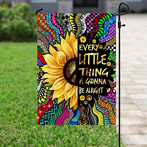 Every Little Thing is Gonna Be Alright Hippie Garden Flags | House Flags | Double Sided Decorative Yard Flag For Spring Summer Fall Winter