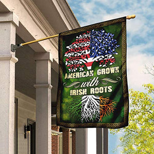 American Grown with Irish Roots Garden Flags | House Flags | Double Sided Decorative Yard Flag For Spring Summer Fall Winter