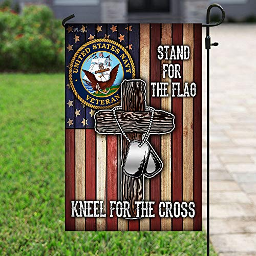 U.S. Navy Veteran Cross Garden Flags | House Flags | Double Sided Decorative Yard Flag For Spring Summer Fall Winter