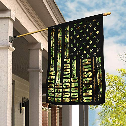 Husband Daddy Protector Hero Veteran Garden Flags | House Flags | Double Sided Decorative Yard Flag For Spring Summer Fall Winter