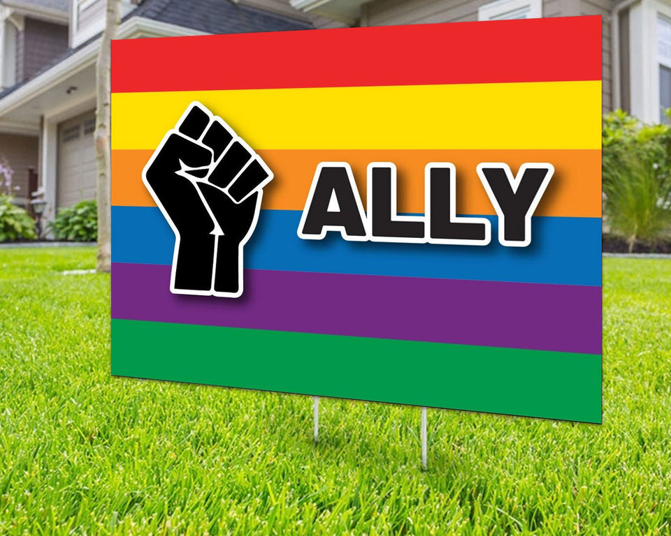 Black Lives Matter Ally Yard Sign Rainbow Decorative Campaign House Garden Yard Signs | Lawn Signage