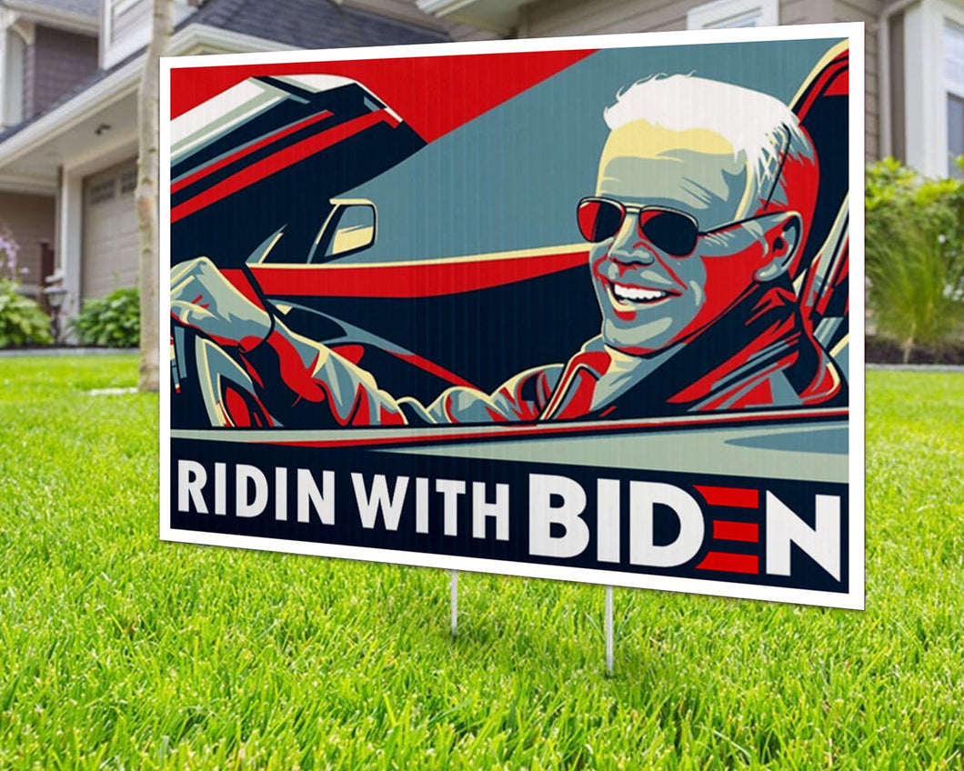Ridin with Biden UV Yard Sign Decorative Campaign House Garden Yard Signs | Lawn Signage