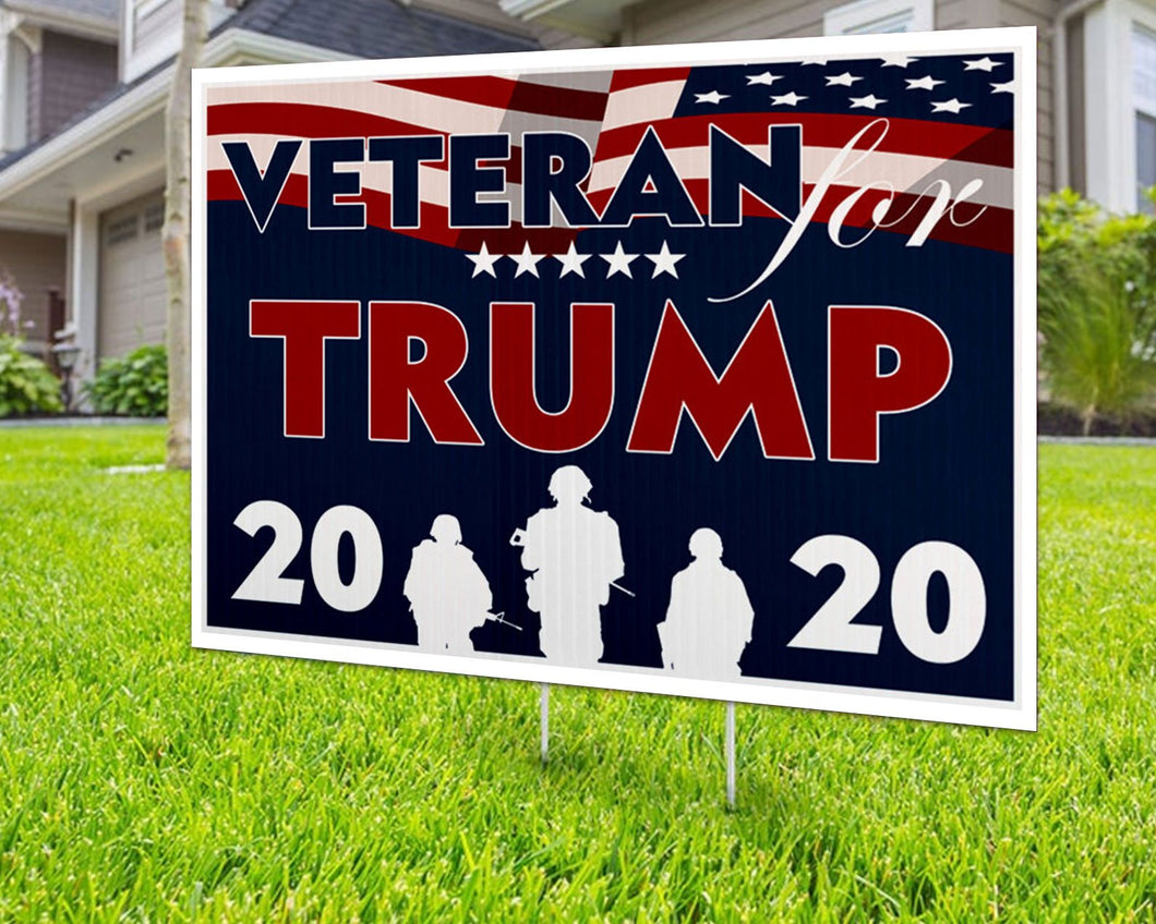 Veteran for Trump 2020 Yard Sign Decorative Campaign House Garden Yard Signs | Lawn Signage