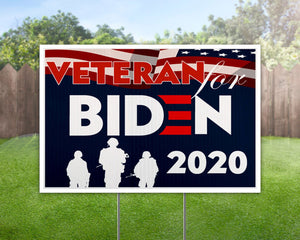 Veteran for Biden 2020 Yard Sign Decorative Campaign House Garden Yard Signs | Lawn Signage