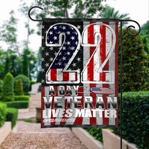 22 A Day Veteran Lives Matter PTSD Awareness Garden Flags | House Flags | Double Sided Decorative Yard Flag For Spring Summer Fall Winter