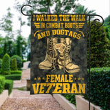 Female Veteran Walked The Walk Garden Flags | House Flags | Double Sided Decorative Yard Flag For Spring Summer Fall Winter