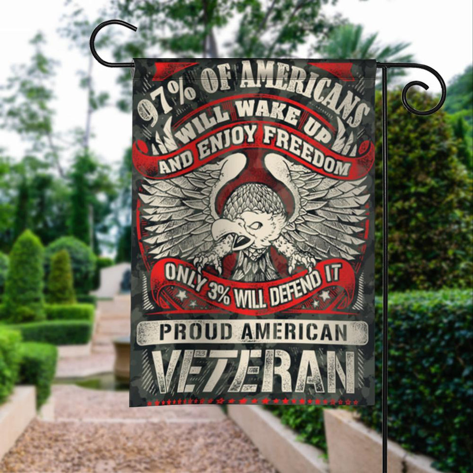 Proud American Veteran Defend Freedom Garden Flags | House Flags | Double Sided Decorative Yard Flag For Spring Summer Fall Winter