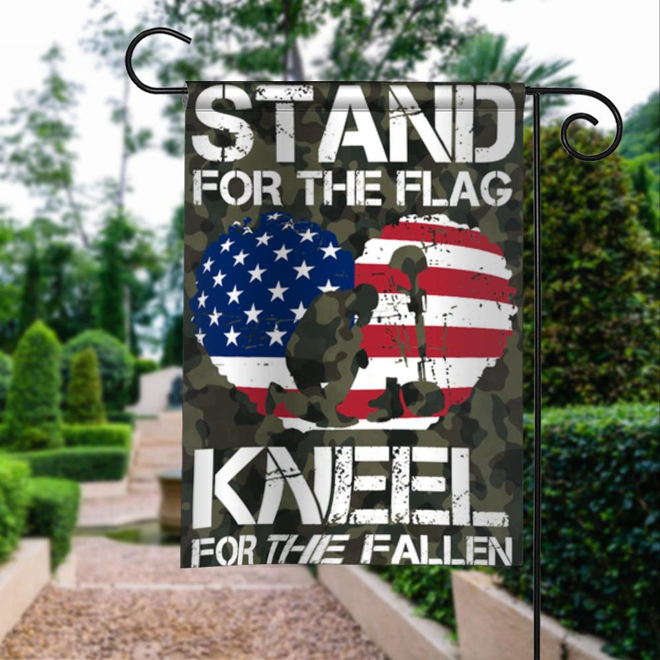 Stand For Our Flag Kneel For The Fallen Garden Flags | House Flags | Double Sided Decorative Yard Flag For Spring Summer Fall Winter