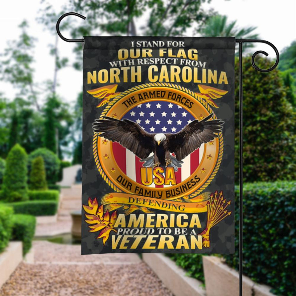 Stand For Our Flag North Carolina Veteran Garden Flags | House Flags | Double Sided Decorative Yard Flag For Spring Summer Fall Winter