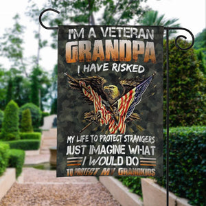 Veteran Grandpa Protect Grandkids American Eagle Garden Flags | House Flags | Double Sided Decorative Yard Flag For Spring Summer Fall Winter