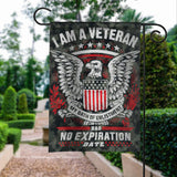 Veteran Oath No Expiration Date Garden Flags | House Flags | Double Sided Decorative Yard Flag For Spring Summer Fall Winter
