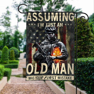 Veterans Assuming Old Man First Mistake American Garden Flags | House Flags | Double Sided Decorative Yard Flag For Spring Summer Fall Winter