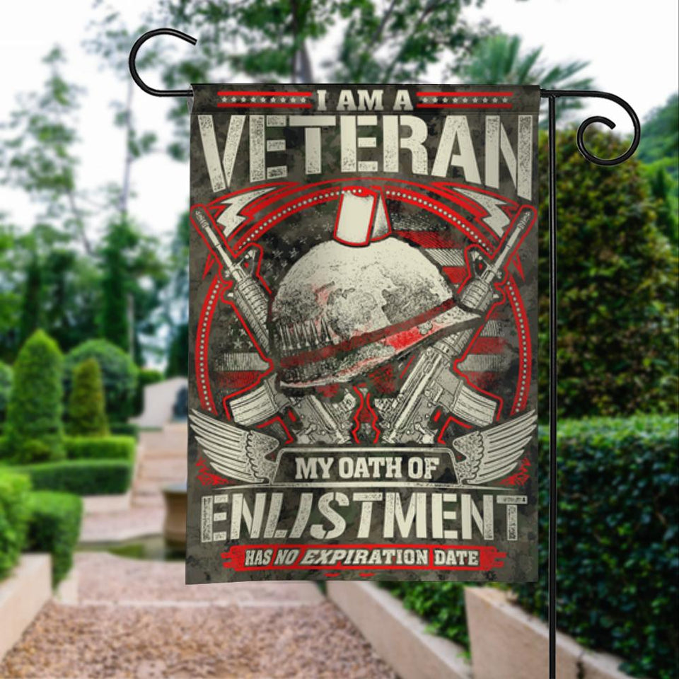 Veterans Oath Of Enlistment No Expiration Date Garden Flags | House Flags | Double Sided Decorative Yard Flag For Spring Summer Fall Winter