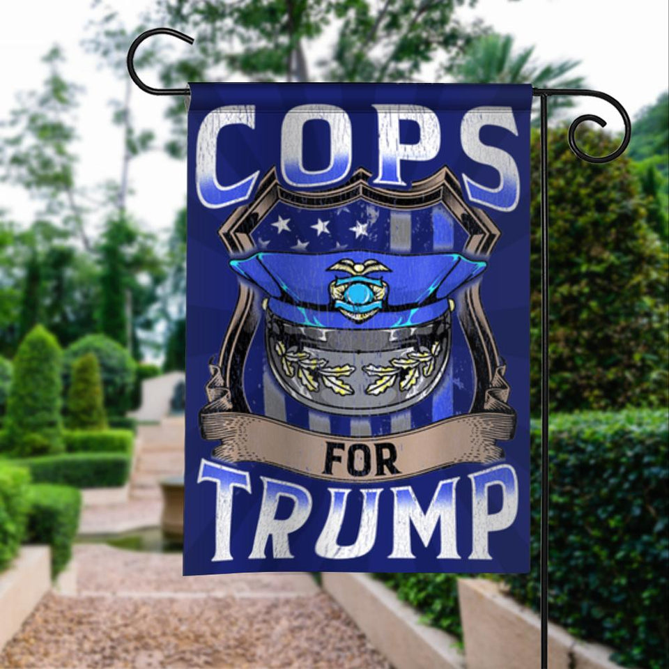 Cops For Donald Trump 2020 President 45 Vintage American Garden Flags | House Flags | Double Sided Decorative Yard Flag For Spring Summer Fall Winter